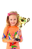 Little girl holding sport cup Stock Photos