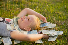 Little Girl Holding Stack of polish money Stock Photos