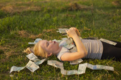 Little Girl Holding Stack of polish money Royalty Free Stock Image