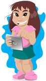 Little girl holding a tablet. Cheerful young girl holding a tablet Royalty Free Stock Photography