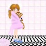 Little girl holding toy ape in bathroom children illustration Stock Images