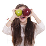 Little girl holding two apples Stock Photography