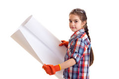 Little girl holding whatman Stock Images