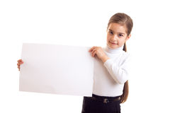 Little girl holding white banner Stock Photos