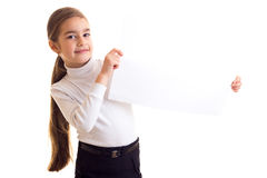 Little girl holding white banner Stock Image