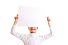Little girl holding white banner Royalty Free Stock Images