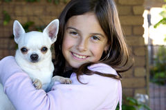 Little girl holding white Chihuahua Royalty Free Stock Photos