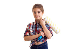 Little girl holding white roll Stock Photos