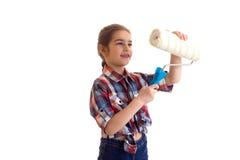 Little girl holding white roll Stock Photos