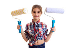 Little girl holding white rolls Royalty Free Stock Photography