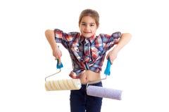 Little girl holding white rolls Stock Image