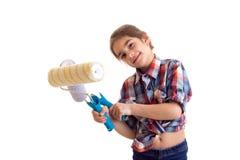 Little girl holding white rolls Stock Images