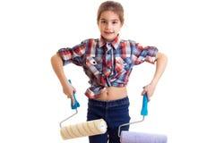 Little girl holding white rolls Stock Photos