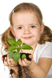 Little girl holding young plant Stock Photography