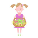 Little girl holds a basket with Easter eggs Stock Photo