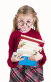 Little girl holds books Royalty Free Stock Photography
