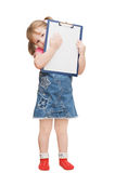 The little girl holds clipboard Royalty Free Stock Image