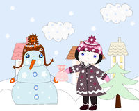 Little girl holds out a gift snowman, winter. In the city Stock Photo