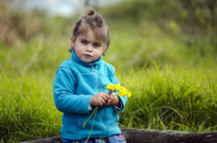 Little girl holds yellow flowers Stock Photos