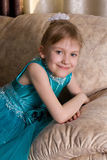 Little girl in the holiday dress portrait Stock Images