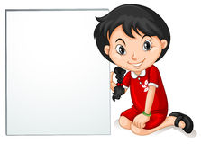 Little girl from HongKong holding sign Stock Photo