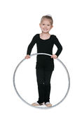 Little girl with a hoop Royalty Free Stock Images