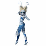 Little girl with horns dancing 4. Little girl with big eyes and horns dancing Stock Image