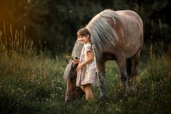 Little girl with horse Royalty Free Stock Image