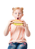 Little girl with hot dog Stock Image