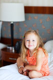 Little girl at hotel room Royalty Free Stock Photo