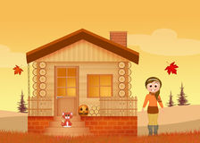 Little girl in the house in autumn Royalty Free Stock Image