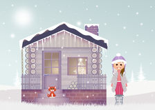 Little girl in the house in winter Stock Photo