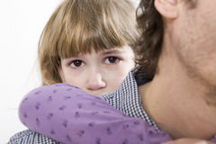 little girl hug his father Stock Image