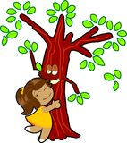 Little girl hug tree Stock Images