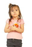 Little girl hugging apple Stock Photography