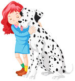 Little girl hugging dog Stock Images