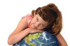 Little girl hugging the earth Stock Image
