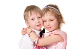 The little girl hugging a friend Stock Photo