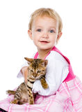 Little girl hugging kitten. isolated on white background Stock Photography