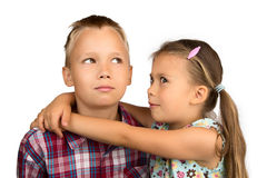 Little Girl Hugs her Older Brother Royalty Free Stock Images