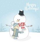 Little girl hugs snowman. Christmas greetings postcard. Happy Holidays Stock Photos