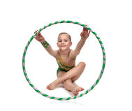 Little girl with hula hoop Stock Photo