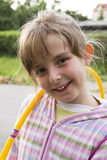 Little girl with hula hoop Royalty Free Stock Images