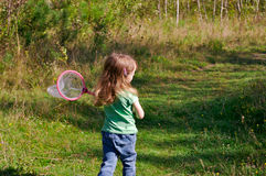 Girl hunting butterflies Stock Photography