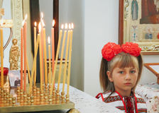 Little girl in сhurch Royalty Free Stock Photography
