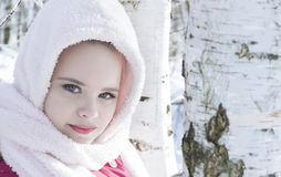 Little girl i in birch forest Royalty Free Stock Photography