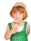 Little girl with ice cream. Beauty little girl with ice cream Royalty Free Stock Image