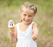 Little girl with ice-cream Stock Photo