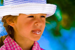 Little girl & ice cream. Little girl with hat and ice cream Stock Photos