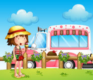 A little girl and the ice cream bus. Illustration of a little girl and the ice cream bus Stock Image